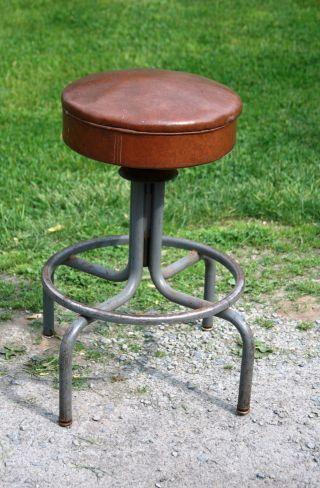 Vintage Industrial Era / Mid Century Modernism Adj Metal High Stool,  26