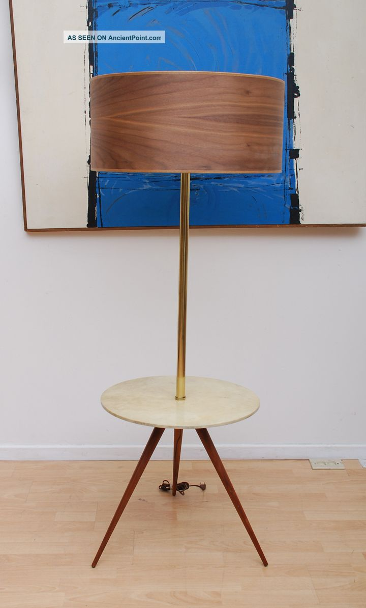 Very Rare Mid Century Modern Tripod Floor Lamp Parchment Table Walnut Drum Shade