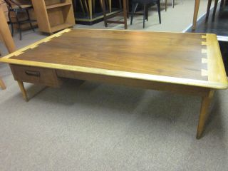 Unusual Lane Walnut + Oak Pass - Thru Drawer Rectangular Coffee Table C1960 photo