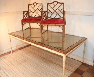 84 Inch Vtg Hollywood Regency Faux Bamboo Chinese Chippendale Dining Room Table photo