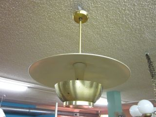 Mid Century Brass Celing Fixture With Perforated Shade photo