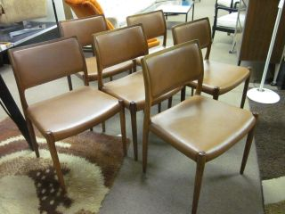 Set Of Six Danish Rosewood + Leather Dining Chairs C1970 By J.  L.  Moller photo