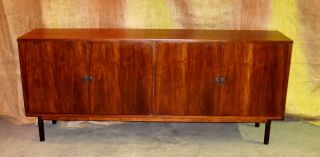 American Modern Walnut 4 Door Credenza Eames Era Refinished Gorgeous photo