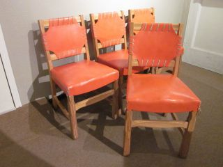 Set Of Four Ranch Oak/orange Leather Dining Chairs C1950s photo