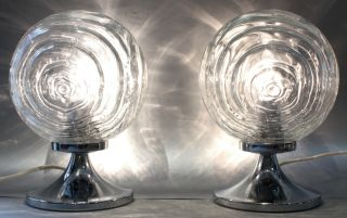 A Pair Table / Bedside Lamps Structural Glass ~ 1960 Modernist Light Effects photo