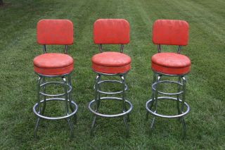 Set 3 Finest Mid Century Modern Tall Swivel Stools photo