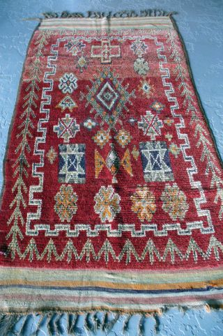 Antique Moroccan Rug - Rare Estate Find 100% Wool,  All Vegetal Dyes.  Even Wear. photo