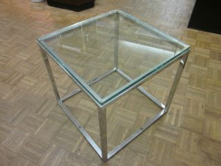 Mod Chrome And Glass Cube Side Table C1970s photo