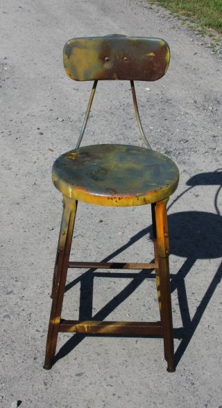 Vintage Industrial Era / Mid Century Modernism Metal High Stool With Back photo