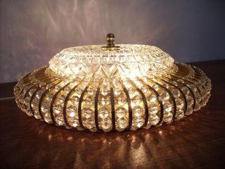 50s Vintage Ceiling Lamp Crystal Glass & Brass Kalmar Nikoll Vienna Stejnar Era photo
