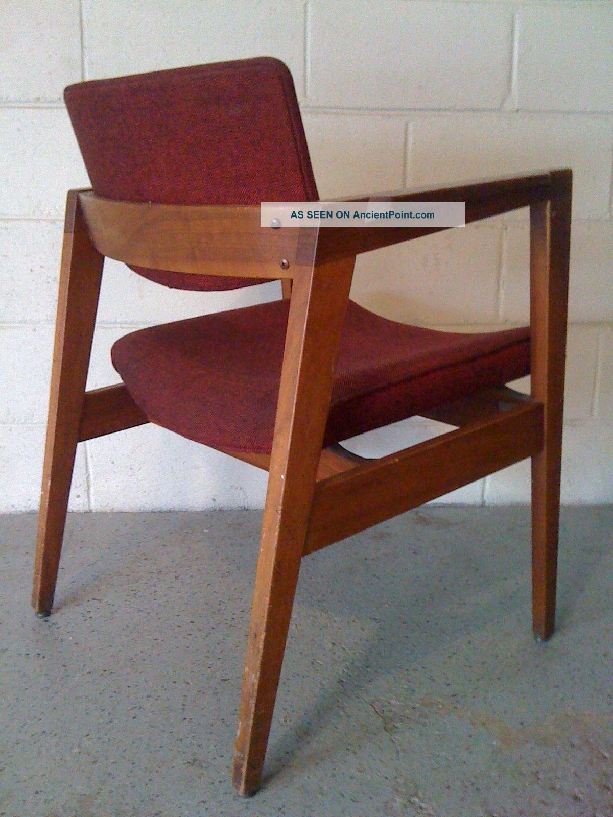 Rut Ro Vintage Gunlocke Danish Modern Armchair W/burgundy Upholstery 1900-1950 photo