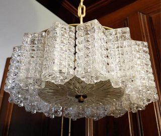 1960 Austrian Glass Block Chandelier J.  T Kalmar Textured Glass photo