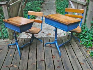 Early Mid - Century Modern School Desks,  Machine/industrial Age,  Steel And Maple photo