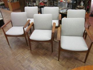 Set Of Six Finn Juhl For France & Sons Danish Teak Dining Armchairs C1960s photo