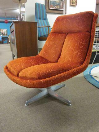 Seventies Modern Orange Velour Swivel Lounge Chair C1970 photo