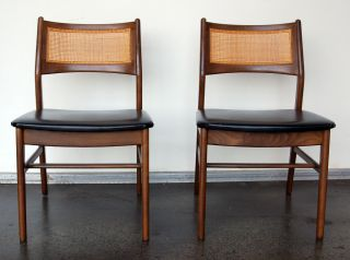 Pair Of Dux Side Chairs Rattan Back Black Sweden Knoll photo