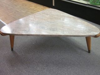 Unusual Marble Biomorphic Cocktail Table With Blonde Tri - Leg Base C1950s photo
