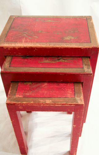 Mid Century Chinoiserie Red Nesting Tables photo