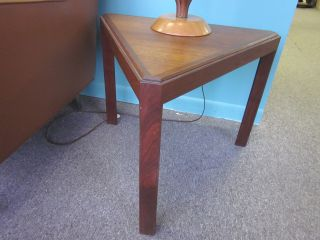 Pair Walnut + Mahogany Triangular Side Tables C1960 - Lane? photo