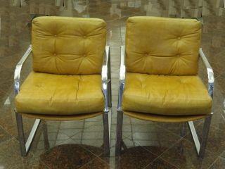 Pair Of Jansko Modern 60 ' S Milo Baughman Era Nickel Chrome Sled Arm Lounge Chair photo