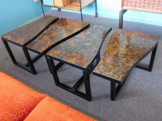 Set Of Four Kittenger Puzzle Occasional Tables C1960s photo