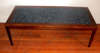 Danish Modern Rosewood & Blue Tile Top Coffee Table Eames Era photo