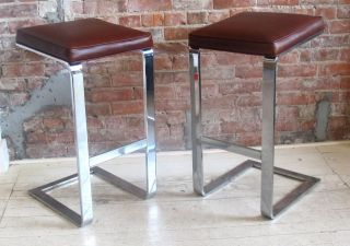 Pair Of Chromed Steel & Leather Barstools By Milo Baughman Eames Era Modern photo