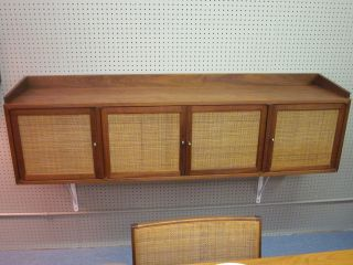 Dunbar Walnut And Caned 4 - Door Wall Hung Credenza/server C1967 photo