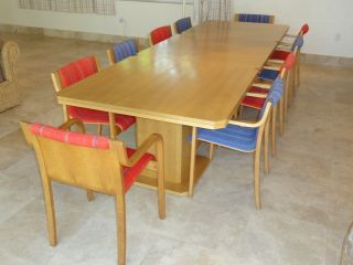 Rare Mid Century Modern Dining Set: 3 Lasko Tables + 12 Icf Chair Finland photo