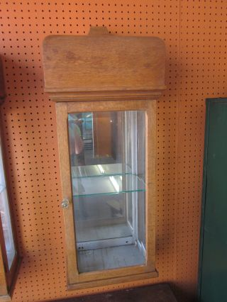 Unusual Oak + Beveled Glass Hanging Display Cabinet C1900 - 20 photo