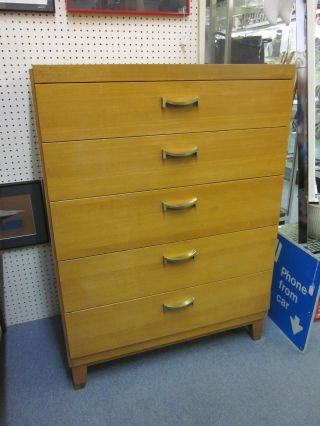 Great Moderne 5 Drawer Blonde Highboy Dresser By Ramseur C1950 photo