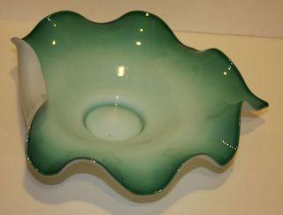 1890 ' S Unusual Green & White Cased Glass Bride ' S Bowl photo