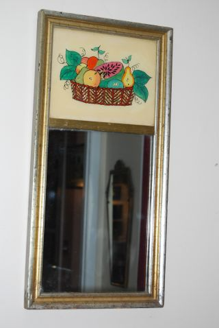 Mid Century Two Part Mirror With Reverse Glass Still Life Painting photo