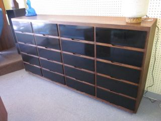 Custom Made Stained Oak Cabinet With Black Bakelite Drawers C1950 photo