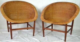 Rare Pair Of Nanna Ditzel Basket Wicker Chairs | Danish Scandinavian Modern photo