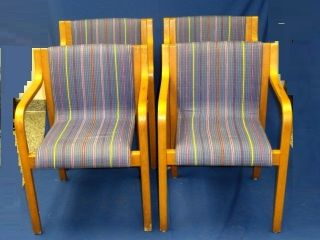 4x Rare Mcm Mid Century Modern Icf Chair Finland Blue Fabric photo