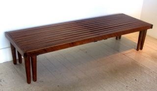 Mahogany Expanding Slat Bench By Brown Saltman George Nelson Style Eames Era photo