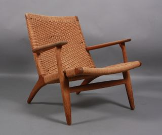 Early Hans Wegner Signed Label Ch25 Lounge Chair Danish Modern Mcm photo