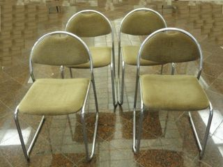 4 X Modern 70 ' S Nickel Chrome Dining Lounge Chair Made In Italy photo