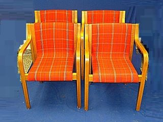 4x Rare Mcm Mid Century Modern Icf Chair Finland Red Fabric photo