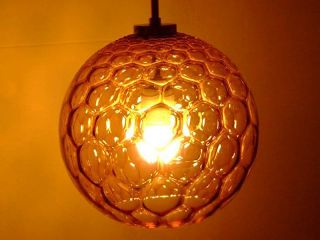 60s Bubble Pendant Hanging Lamp Honeycomb Amber Glass Mid - Century Modernism photo