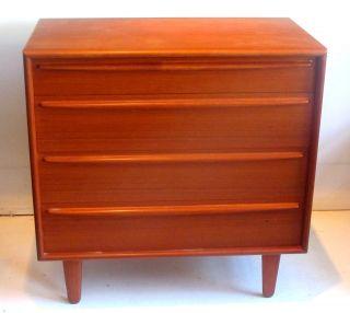 Danish Modern Teak 4 Drawer Dresser Chest Falster Wegner Eames Era photo
