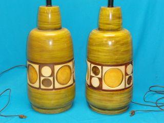 Pair 60 ' S Modern Eames Era Resin Fiberglass Abstract Geometric Table Lamp ~ 22