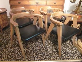 Set Of Four Oak Dining Chairs W/splayed Legs Attr.  To Allan Gould C1950s photo