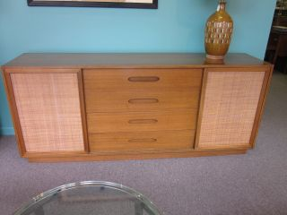 Harvey Probber Mahogany Sideboard/credenza W/sliding Cane Doors C1950s photo