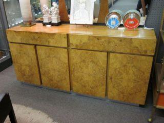 Baughman - Style Burled Wood/oak 4 - Door 2 - Drawer Credenza photo