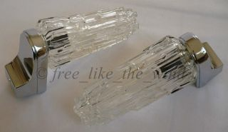 1 Pair Of Ice Glass Skyscraper Bathroom Wall Lamps Midcentury ~ 60s photo