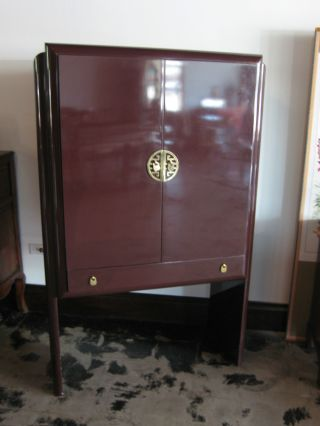 Vintage Romweber Furniture Brown Heavy Lacquered Lighted Cabinet photo
