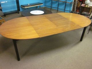 Baker Walnut Oval Extension Table With Ebonized Clover Shaped Legs C1960 photo