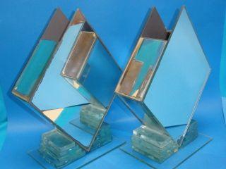 Pair Unique 70 ' S Chic Modern Mirror & Glass Art Vase photo